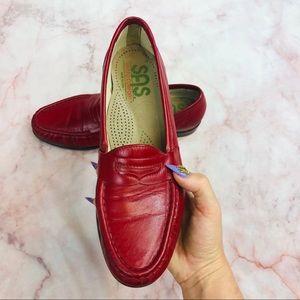 SAS Tripad Comfort Red Leather Slip On Loafer Flat
